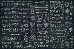 Граница Doodle, стрелки, элемент оформления Комплект влюбленности Стоковое фото RF