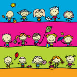 Граници счастливых детей безшовные Стоковое Изображение