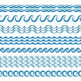 Границы вектора волн морской воды безшовные, элементы Aqua или линии прилива Бесплатная Иллюстрация