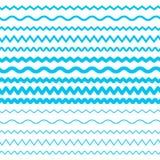 Границы вектора волн морской воды безшовные, элементы Aqua или линии прилива Иллюстрация штока