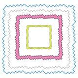 Границы и рамки зигзага установили голубую черноту форма розовых и желтых цветов прямоугольная иллюстрация штока