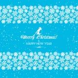 Границы праздничных снежинок рождества и Нового Года безшовные bluets Стоковые Фото