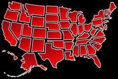 Границы Соединенных Штатов карты 50 США Стоковая Фотография RF