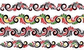 Границы черных и красных цветов богато украшенные установили в русский стиль khokhloma иллюстрация вектора
