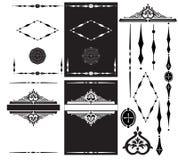 Граничит декоративный комплект элементов виньетки на белизне для дизайна Стоковое Изображение RF
