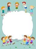 Граничьте шаблон при счастливые дети играя в предпосылке бесплатная иллюстрация