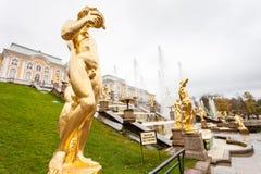 Грандиозный дворец Peterhof, грандиозный каскад и фонтан Samson Стоковая Фотография