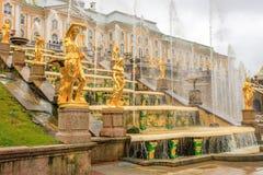 Грандиозный дворец Peterhof, грандиозный каскад и фонтан Samson Стоковые Фото
