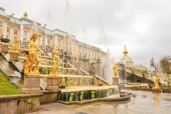 Грандиозный дворец Peterhof, грандиозный каскад и фонтан Samson Стоковое фото RF