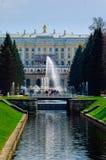Грандиозный дворец Peterhof, каскад фонтана Россия Стоковые Изображения
