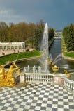 Грандиозный дворец Peterhof, каскад фонтана Россия Стоковые Фотографии RF
