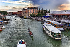 Грандиозный канал в Венеции Стоковые Изображения RF