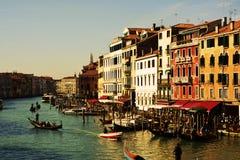 Грандиозный канал и гондолы, в Венеции, Италия, Европа Стоковые Изображения RF