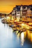 Грандиозный канал на ноче, Венеция Стоковое Изображение