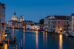 Грандиозный канал на ноче, Венеция Стоковое фото RF