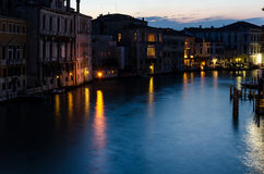 Грандиозный канал на ноче, Венеция Стоковые Изображения RF
