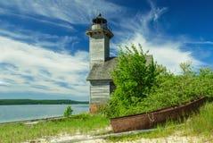 Грандиозный маяк острова, главное озеро, Мичиган, США стоковые фотографии rf