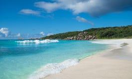 Грандиозный пляж Anse тропический, остров Digue Ла, Сейшельские островы Стоковые Изображения