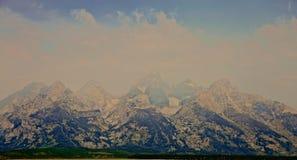 Грандиозный туман гор Teton Стоковое фото RF