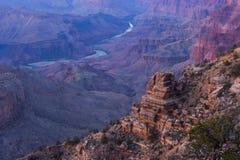 Гранд-каньон на заходе солнца Стоковая Фотография RF