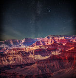 Гранд-каньон на ноче стоковое изображение rf