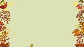 Графики анимаций Осень покрасила предпосылку и одушевила падая листья Цветки рамки сезонные высушенные, конусы и сток-видео