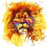 Графики короля Футболки льва, иллюстрация льва с акварелью выплеска текстурировали предпосылку необыкновенный лев акварели иллюст иллюстрация штока