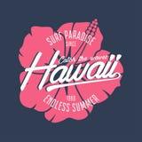 Графики оформления Гаваи для футболки с гибискусом цветут Гаваиская занимаясь серфингом печать для одеяния и футболки лета вектор Стоковые Изображения