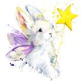 Графики футболки зайчика fairy иллюстрация зайчика fairy с акварелью выплеска текстурировала предпосылку необыкновенная акварель  Стоковое Изображение RF