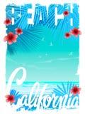 Графики футболки пляжа Калифорнии, векторы Иллюстрация штока