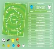 Графики для игры футбола футбола, значки информации, элементы игры, табло Стоковое Изображение