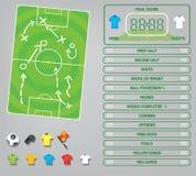 Графики для игры футбола футбола, значки информации, элементы игры, табло Стоковое Изображение RF