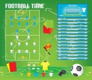 Графики для игры футбола футбола, значки информации, элементы игры, табло Стоковые Изображения RF