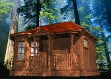 График деревянных кабины и деревьев Стоковая Фотография