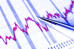 График запаса, крах фондовой биржи Стоковые Изображения