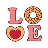 График иллюстрации вектора Donnut оформления слова влюбленности Стоковое Изображение