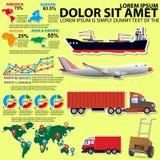 График информации на транспорте кораблями различных типов Стоковое Изображение RF