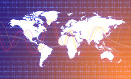 График карты мира цифров Концепция соединения мира Стоковые Фото