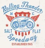 График мотоцикла грома завальцовки винтажный Стоковое Изображение