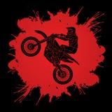 График мотоцикла перекрестный скача Стоковое Фото