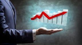 График настоящего момента руки бизнесмена большой с стрелкой Стоковое Изображение