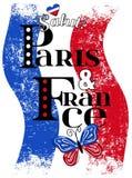 График Парижа для футболки, печати вектора Стоковая Фотография RF