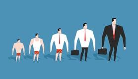 график развития кризиса дела развитие простого работника в брюках к быку Стоковое Фото