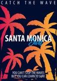 График Санта-Моника занимаясь серфингом с ладонями Дизайн и печать футболки иллюстрация штока