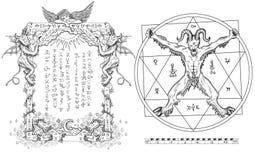 График установил с дьяволом в круге и религиозной рамке бесплатная иллюстрация