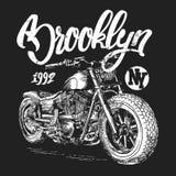 График футболки мотоцикла Бруклина Иллюстрация штока