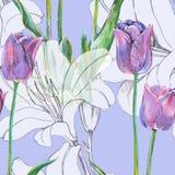 График цветет голубой тюльпан с лилией на голубой предпосылке флористическая картина безшовная Стоковая Фотография RF