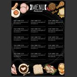 График чертежа руки дизайна шаблона ресторана еды меню Стоковые Фотографии RF