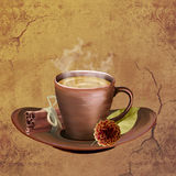 Графическая иллюстрация чашки кофе и циннамона стоковое фото rf