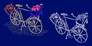 Графическая картина: ретро велосипед с корзиной цветков на каменной мостоваой на синей предпосылке Стоковое Изображение